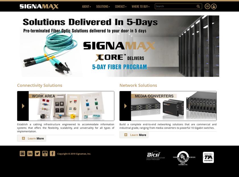 Signamax Inc homepage screenshot