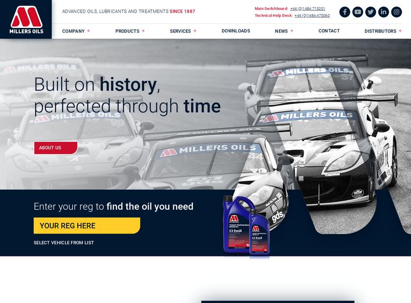 Millers Oils Ltd homepage screenshot