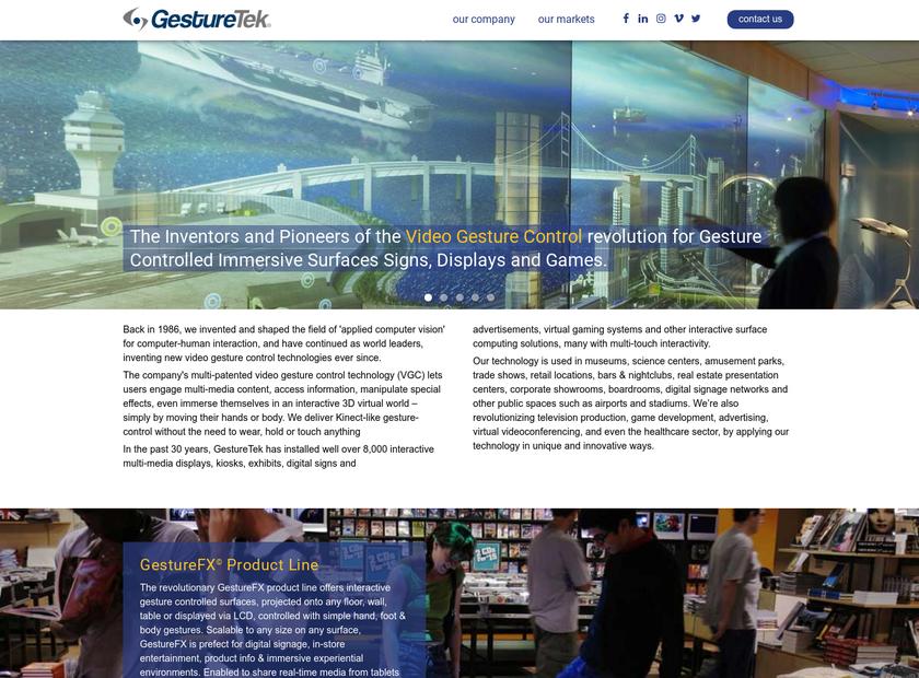 GestureTek Inc homepage screenshot