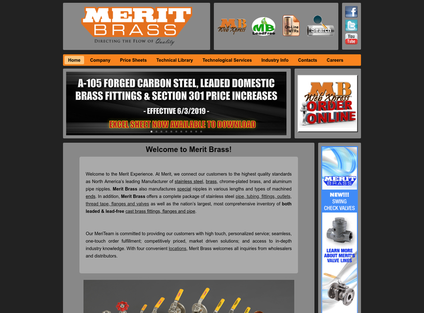 Merit Brass Company homepage screenshot