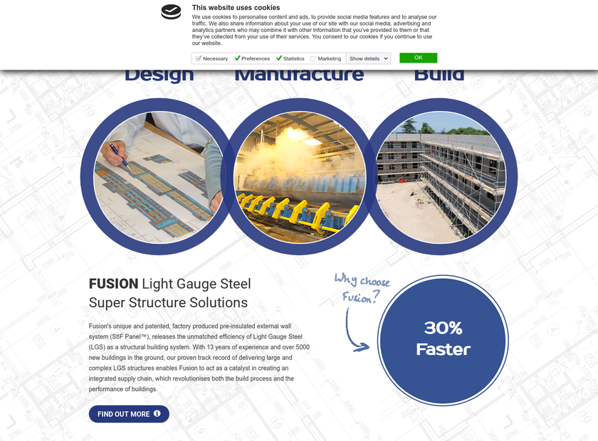 Fusion Building Systems Company homepage screenshot