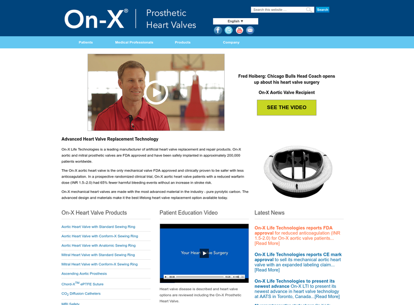 On-X Life Technologies Inc homepage screenshot
