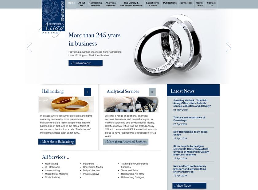 Sheffield Assay Office homepage screenshot