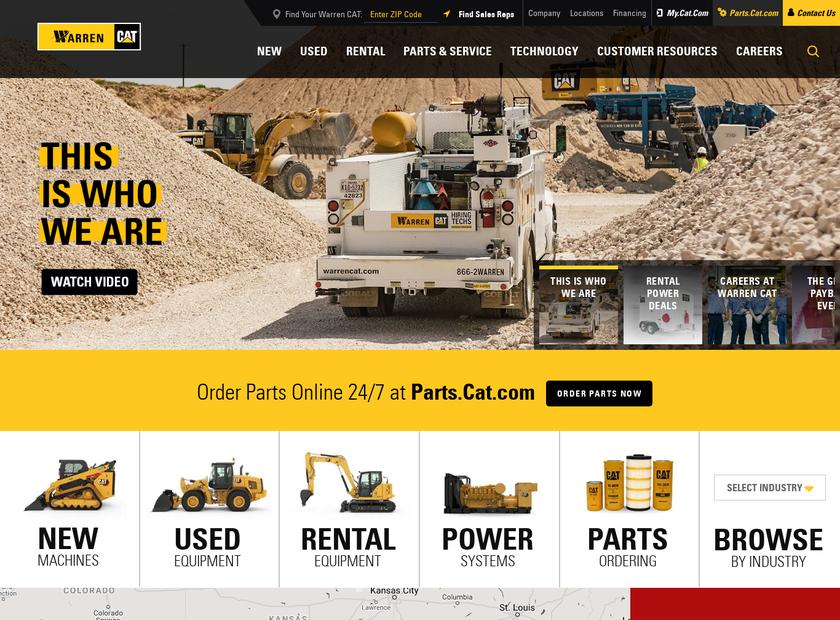 WARREN CAT INC homepage screenshot