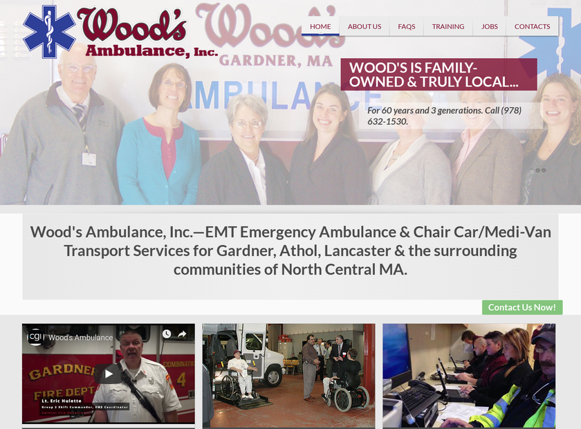 Wood's Ambulance Inc homepage screenshot