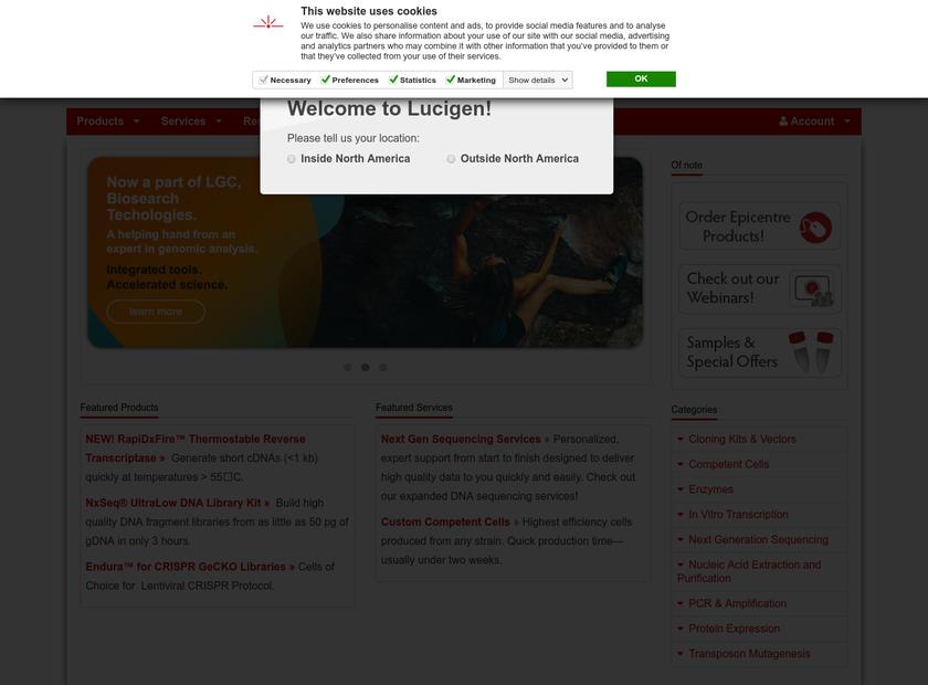 Lucigen Corporation homepage screenshot