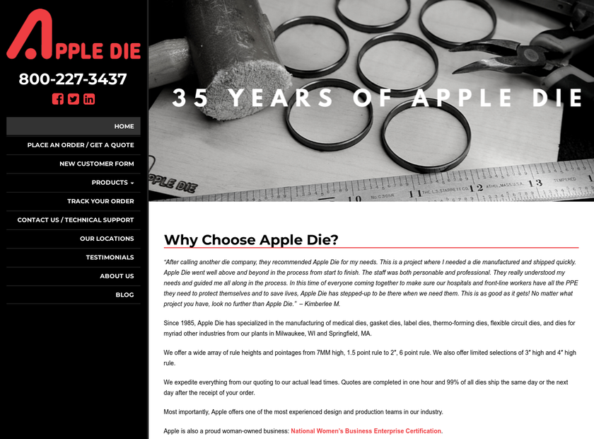 Apple Steel Rule Die Co Inc homepage screenshot