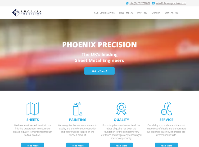 Phoenix Precision Ltd homepage screenshot
