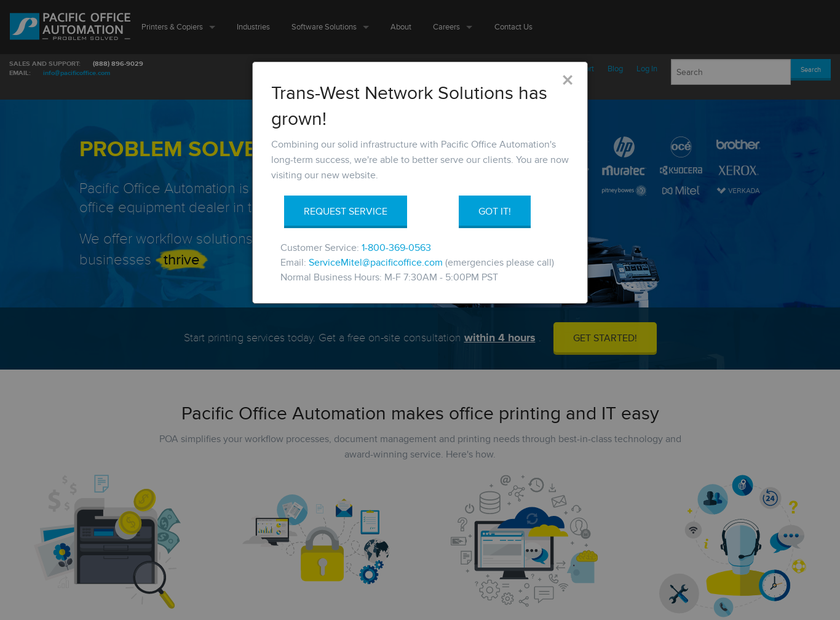 Trans-West Network Solutions homepage screenshot