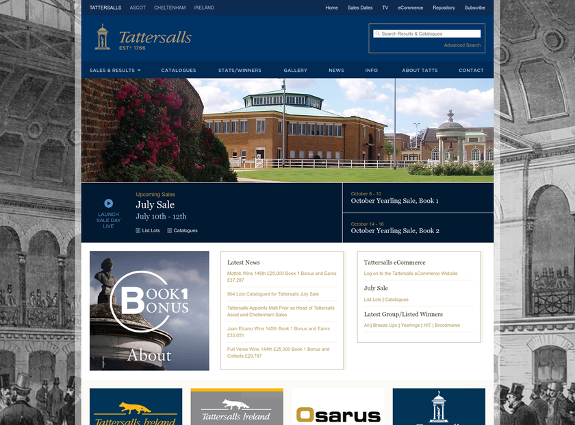 Tattersalls Ltd homepage screenshot