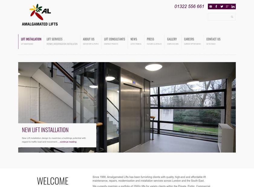 Amalgamated Lifts Ltd homepage screenshot