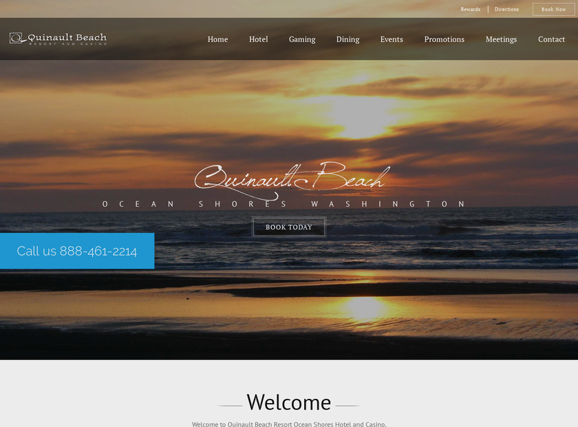 Quinault Beach Resort & Casino homepage screenshot