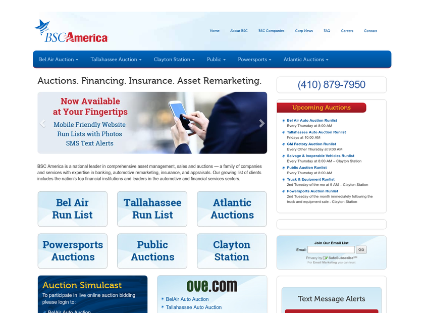 BSC America homepage screenshot