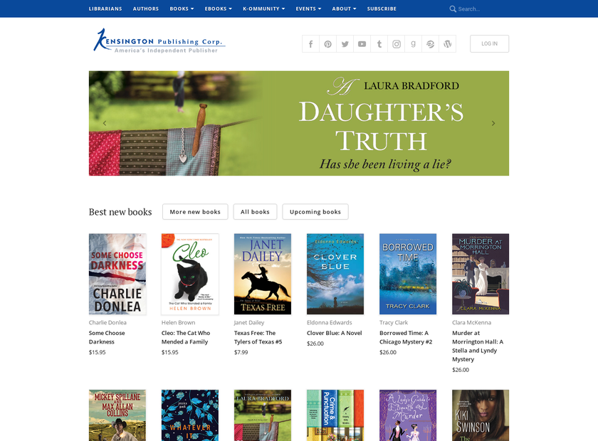 Kensington Publishing Corp. homepage screenshot