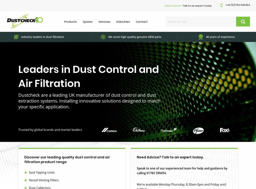 Dustcheck Limited homepage screenshot