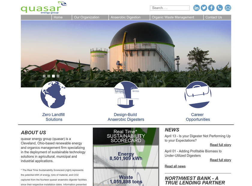 QUASAR ENERGY GROUP LLC homepage screenshot