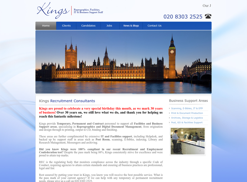 Kings Recruitment Consultants homepage screenshot