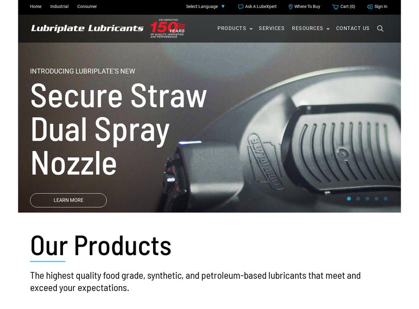 Lubriplate Lubricants Company homepage screenshot