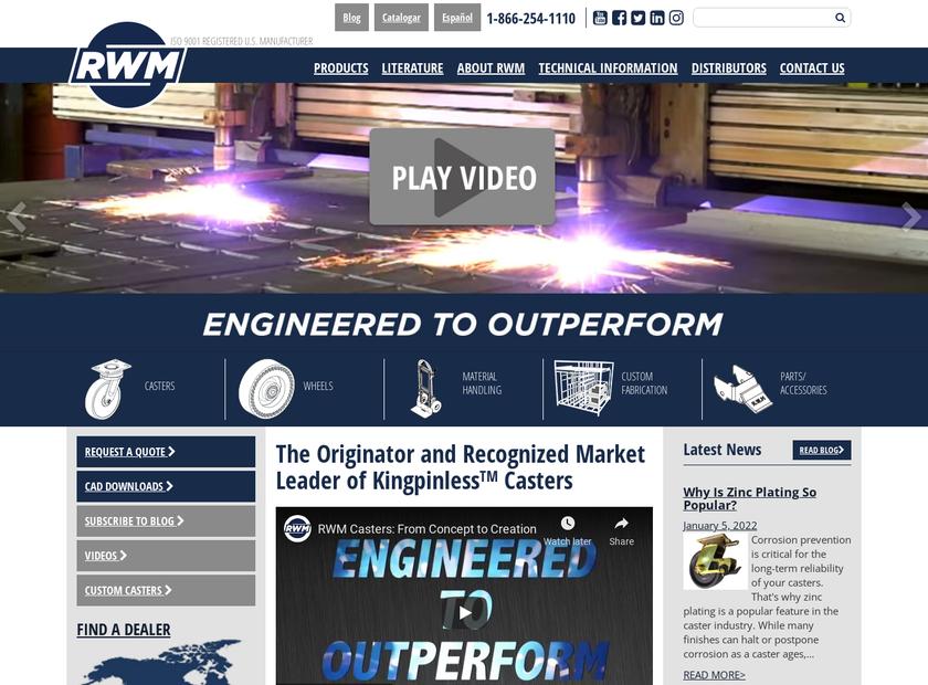 RWM Casters homepage screenshot