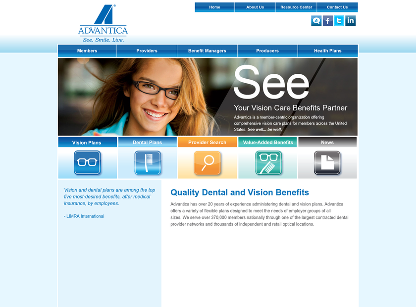 Advantica Eyecare , Inc. homepage screenshot