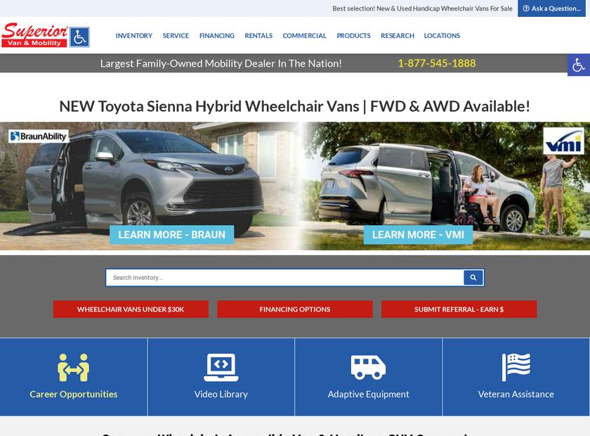 Superior Van & Mobility LLC homepage screenshot