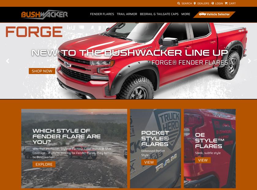 Bushwacker Inc homepage screenshot