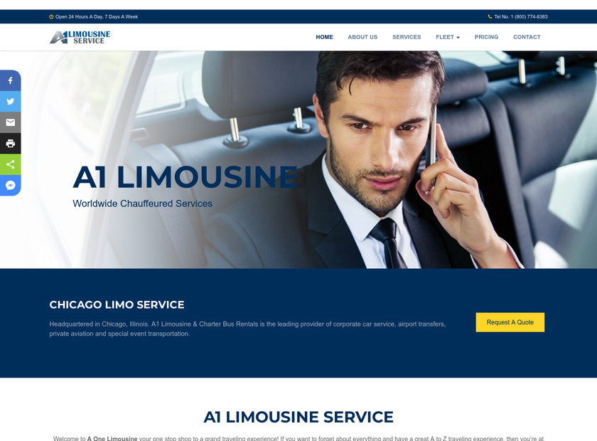 A1 Limousine Service.com Inc homepage screenshot