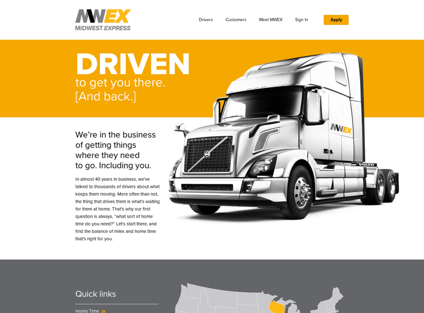 Midwest Express Corporation homepage screenshot