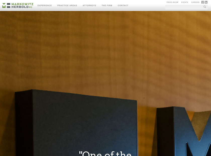 Markowitz Herbold PC homepage screenshot