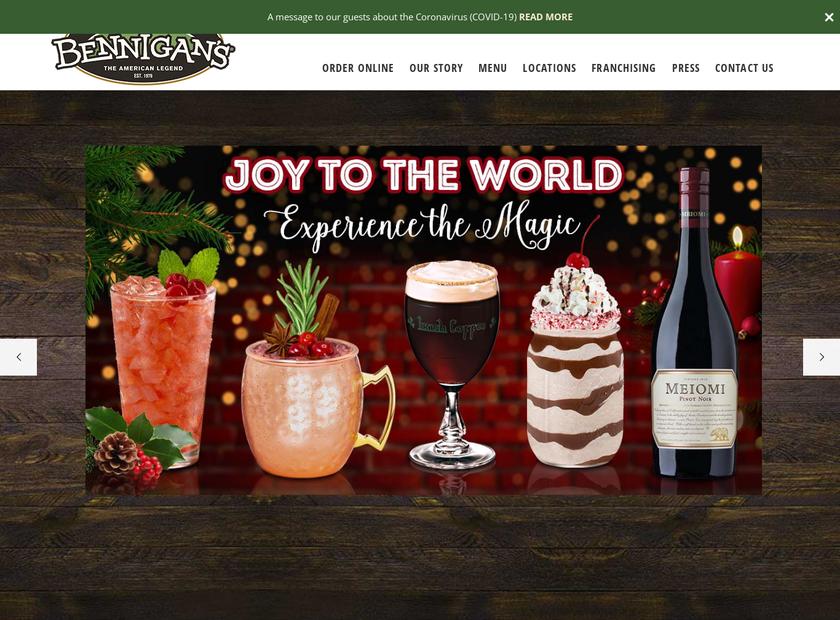 Bennigan homepage screenshot
