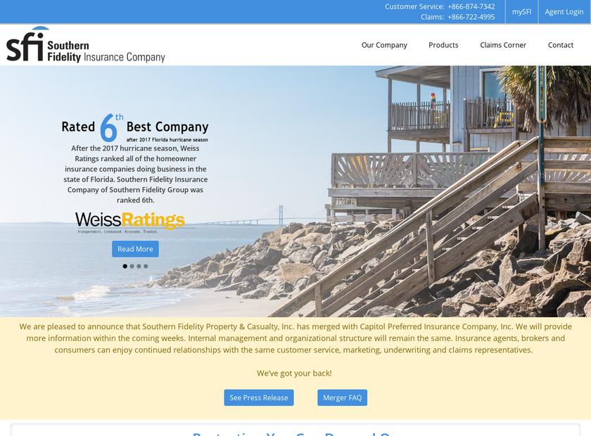 Southern Fidelity Insurance Company homepage screenshot