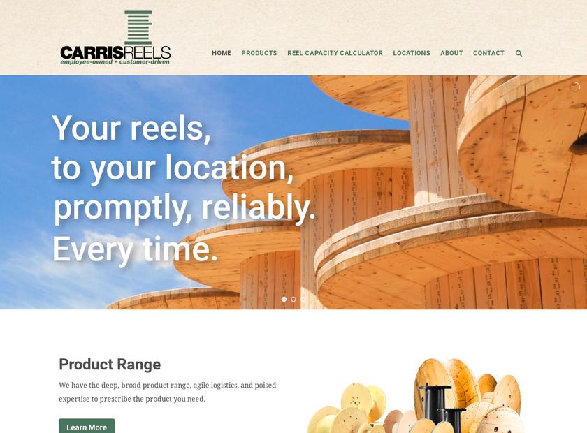 Carris Reels Inc homepage screenshot