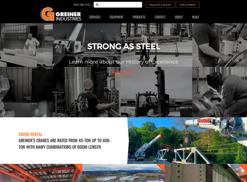 Greiner Industries Inc homepage screenshot