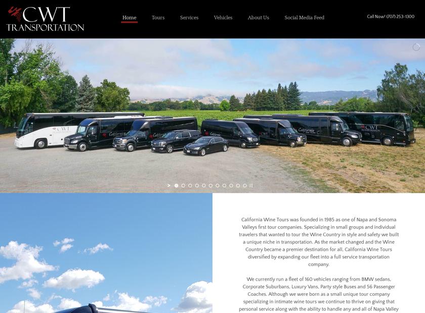 California Wine Tours homepage screenshot