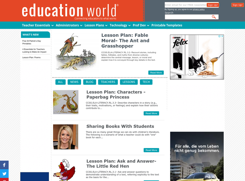 Education World Inc homepage screenshot