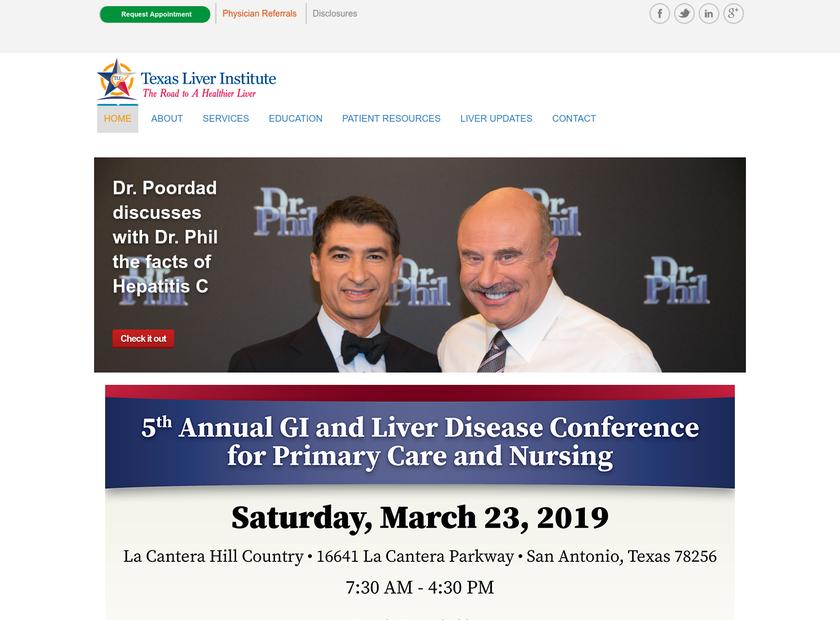 Texas Liver Institute homepage screenshot