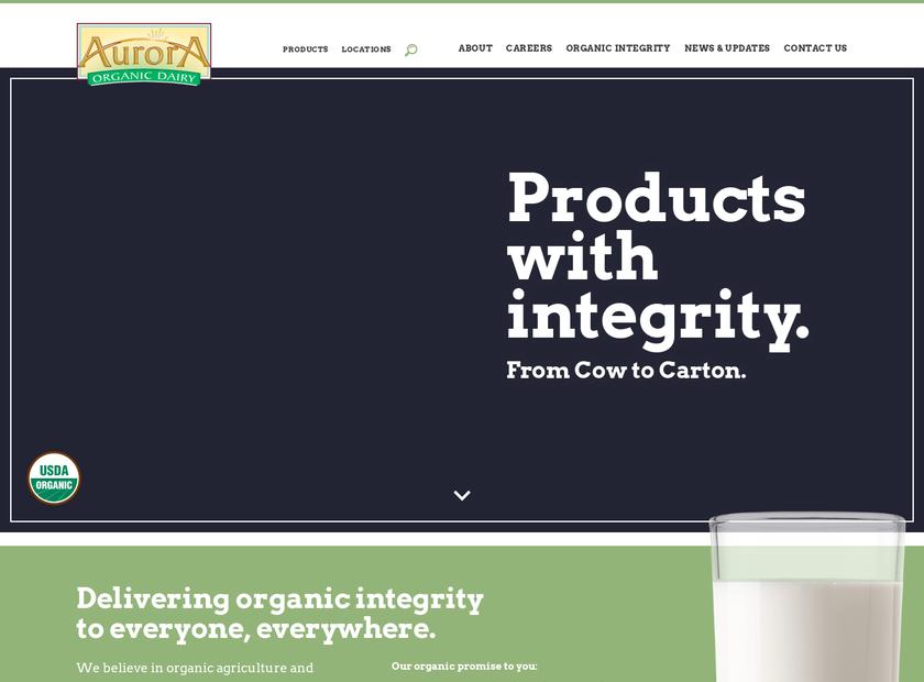 Aurora Organic Dairy homepage screenshot