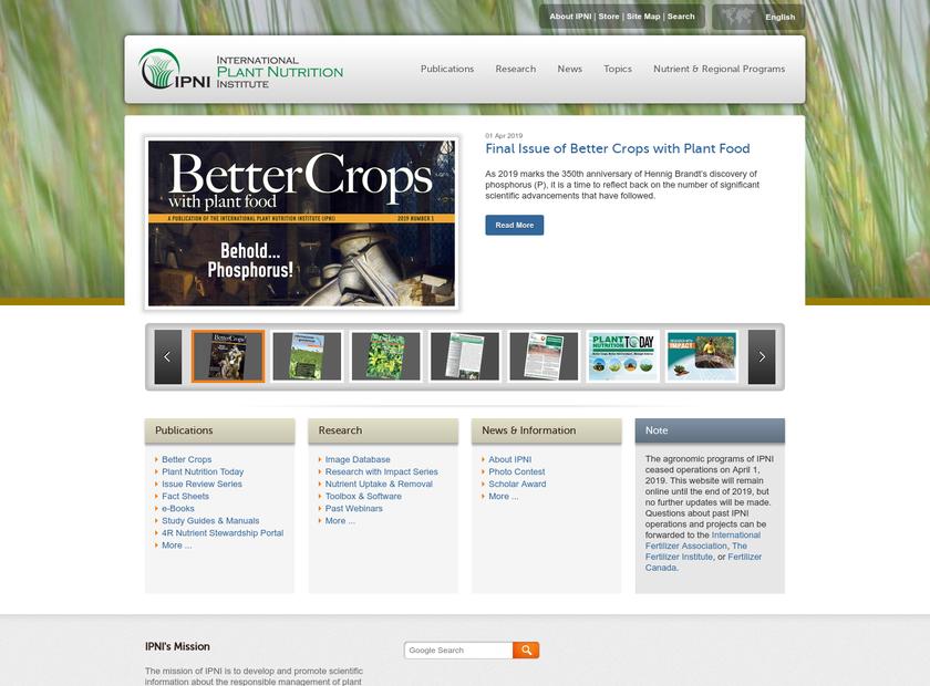 International Plant Nutrition Institute homepage screenshot