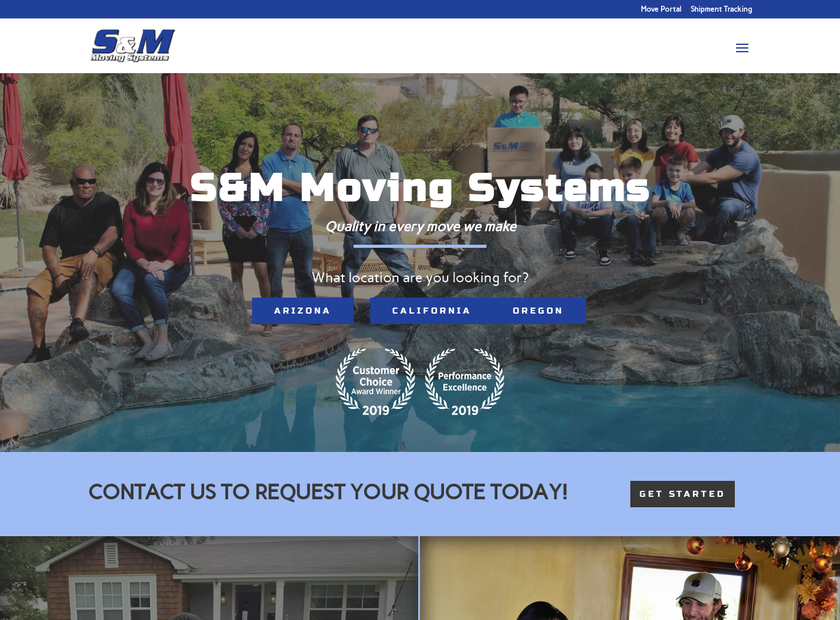 S&M Moving Systems companies homepage screenshot