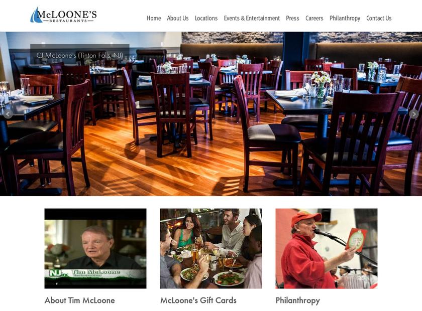 McLoone's Boathouse homepage screenshot