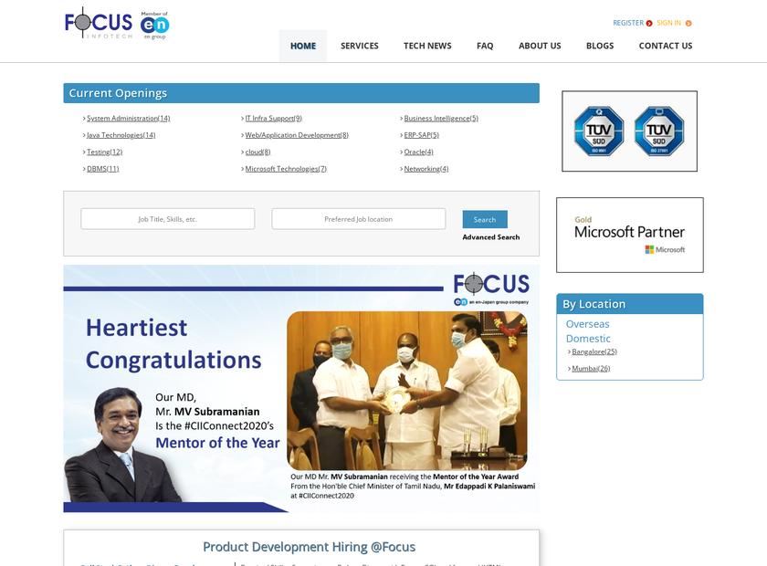 Future Focus infotech Pvt Ltd homepage screenshot