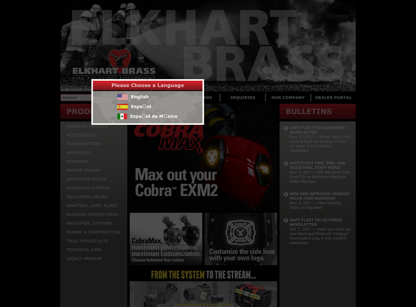 Elkhart Brass Manufacturing Company Inc homepage screenshot