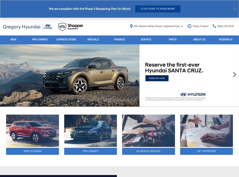 Gregory Hyundai homepage screenshot