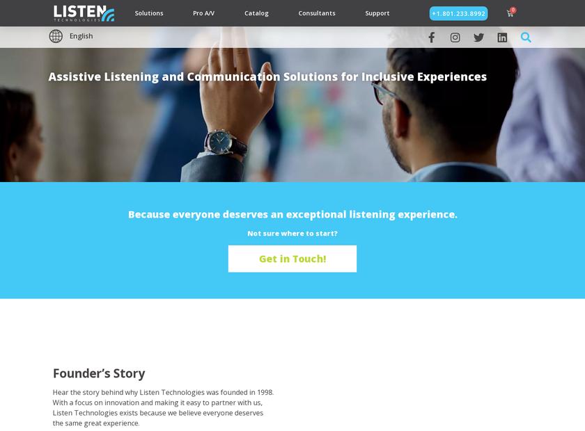 Listen Technologies Corporation homepage screenshot