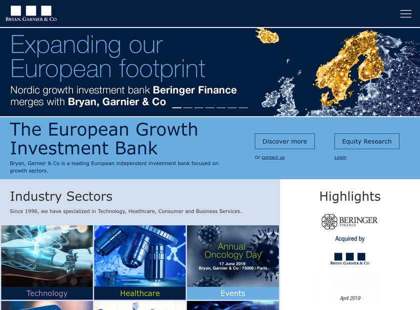 Bryan Garnier & Co Ltd homepage screenshot