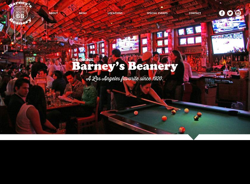 Barney's Beanery homepage screenshot