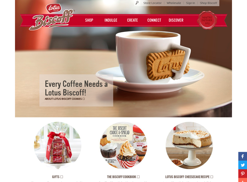 Lotus Bakeries North America homepage screenshot