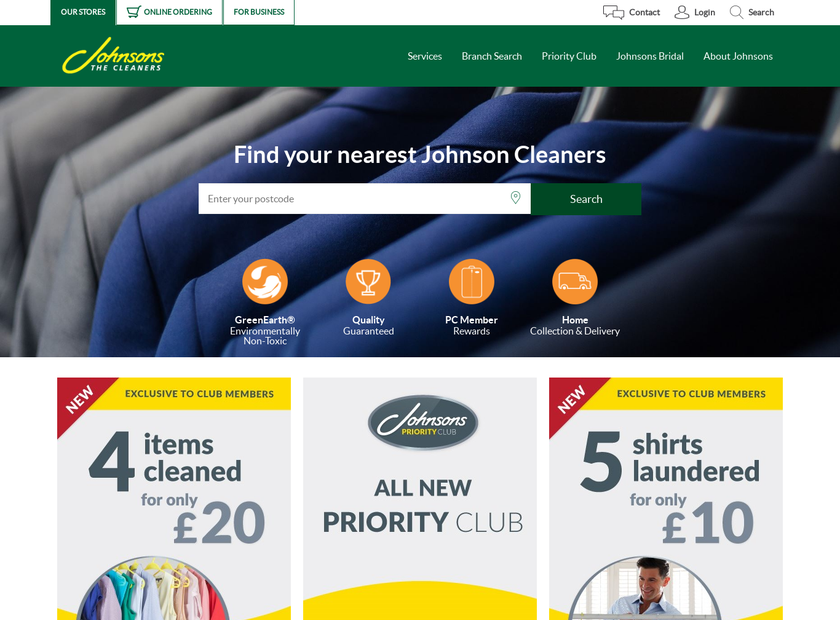 Johnsons Dry Cleaners UK Ltd homepage screenshot