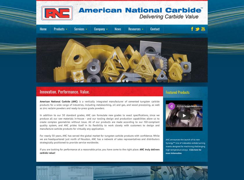 American National Carbide Inc homepage screenshot