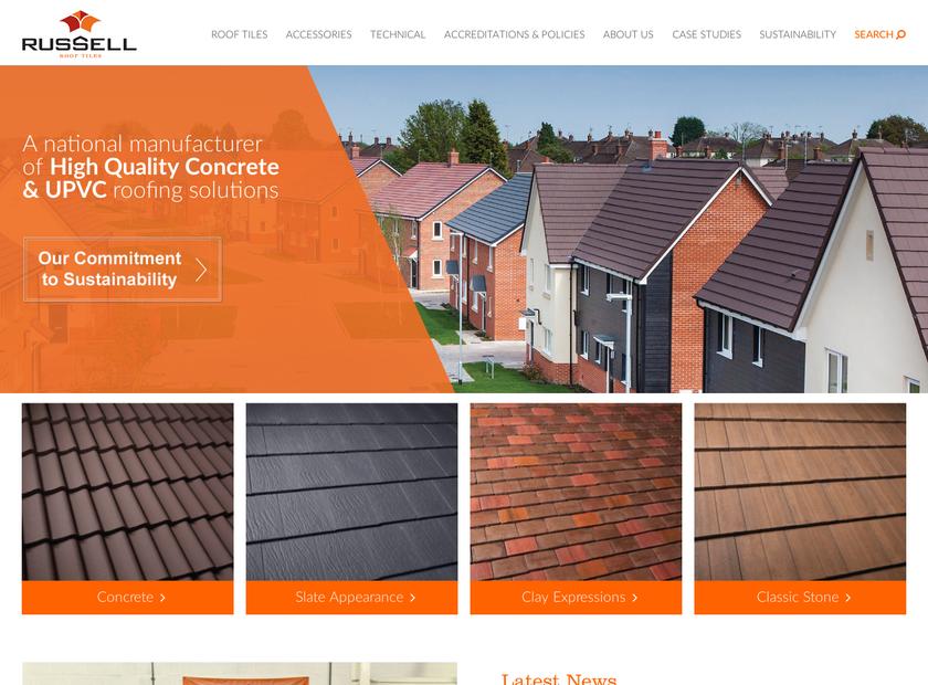 Russell Roof Tiles homepage screenshot